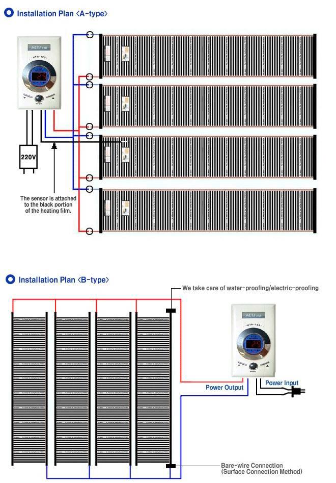 схема подключения термопленки к сети